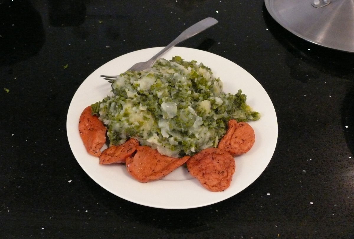 Dutch Kale Stamppot with Vegetarian Sausage